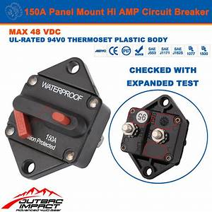 150a Amp Circuit Breaker Panel Mount Manual Reset Ip67 W