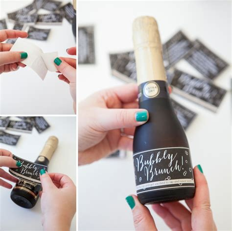 mini wine bottle labels templates make these mini chagne brunch invitations