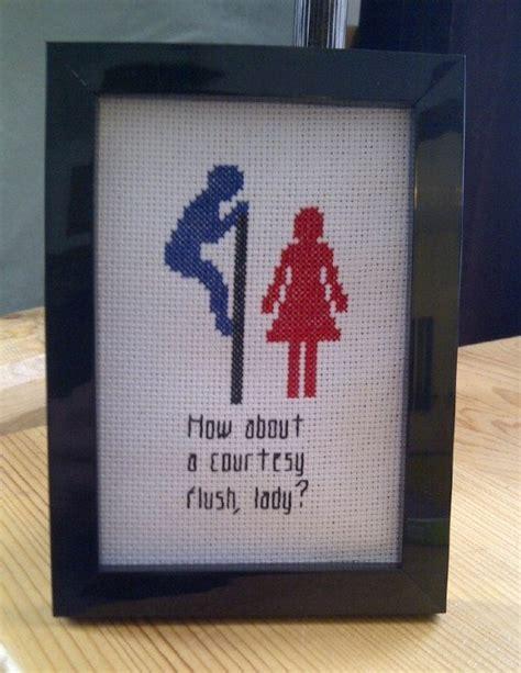 Rude Bathroom Signs by Pattern Cross Stitch Courtesy Flush Unisex Bathroom