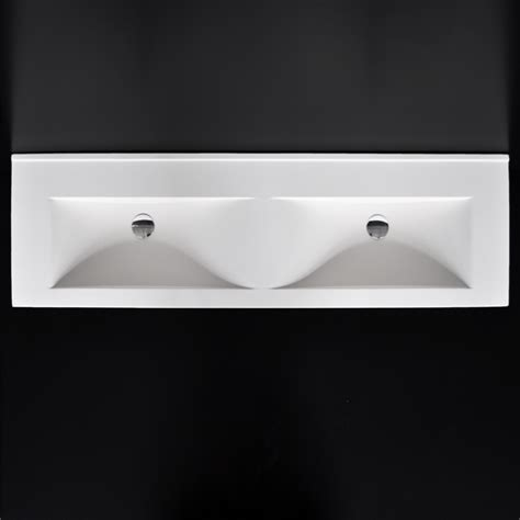 lacava 5171 spring double solid surface vanity top with an