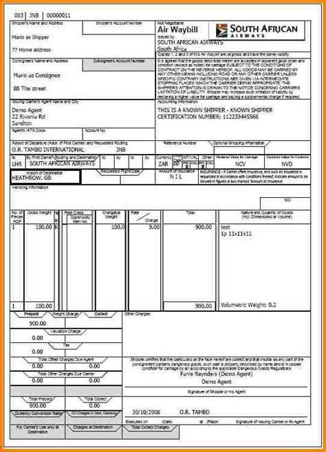 airway bill format simple bill