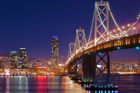 san francisco night bridge lights san francisco