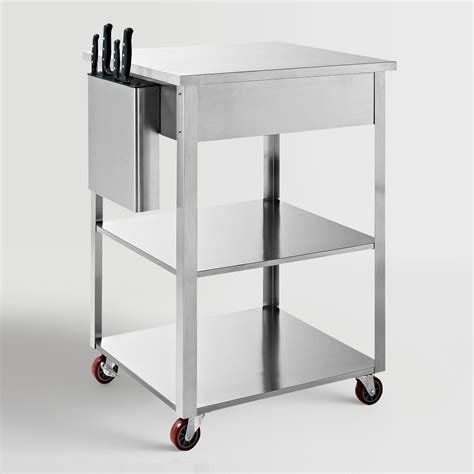 stainless steel kitchen cart stainless steel daelyn kitchen cart world market