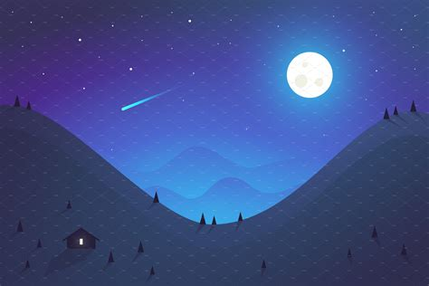 night landscape flat design pre designed photoshop