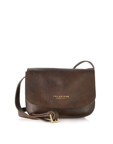 Leather Crossbody Bag by Lyst The Bridge Sfoderata Soft Brown Leather