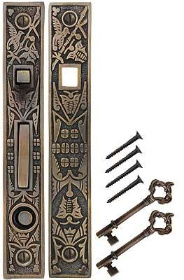 hummingbird bit key single pocket door mortise lock  antique  hand house  antique hardware