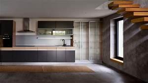 carrelage effet beton cire et plancher en bois dans une With cuisine beton cire bois