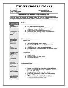 professional resume format for freshers biodata format for job application download sle biodata form