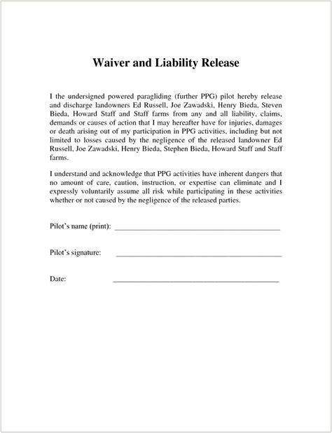 release of liability form template template waiver template word