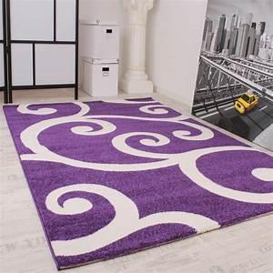 Teppich Grau Lila : designer teppich muster in lila weiss kurzflor top ~ Whattoseeinmadrid.com Haus und Dekorationen