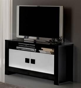 Meuble Tv Noir Laqué : meuble tv blanc chene ~ Nature-et-papiers.com Idées de Décoration