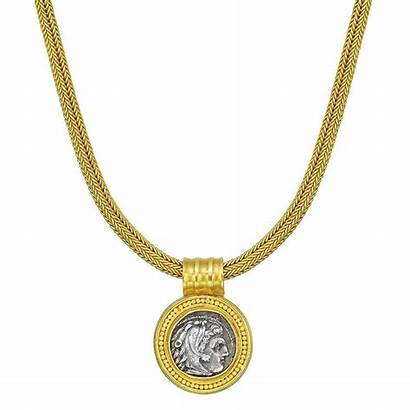 Coin Necklace Greek Ancient Pendant Gold Silver