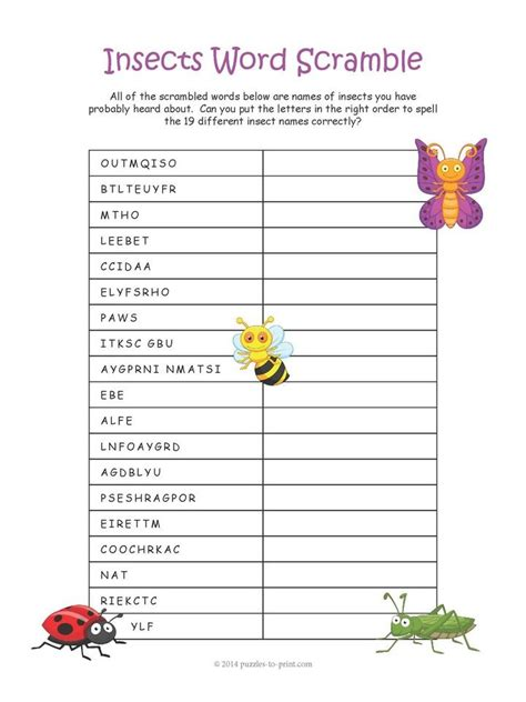 Check spelling or type a new query. Printable Insect Word Scramble | Insects for kids, Scramble words, Coloring pages for kids