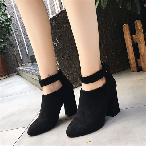 New Fashion Black Ankle Women Boots Concise Buckle