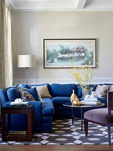 Transitional, Living, Room, With, Blue, Sectional