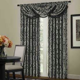shop allen roth bristol 95 in l black white rod pocket curtain panel at lowes