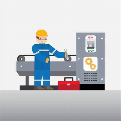 Cnc Operator Machine Clip Vector Illustrations Mechanical