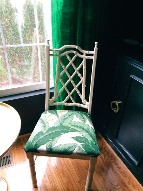 Bamboo chair with palm leaf print | Chair makeover, Bamboo ...
