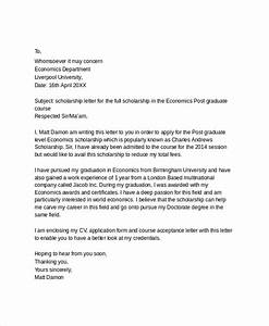 sample scholarship application letter 6 documents in With how to make a cover letter for a scholarship application