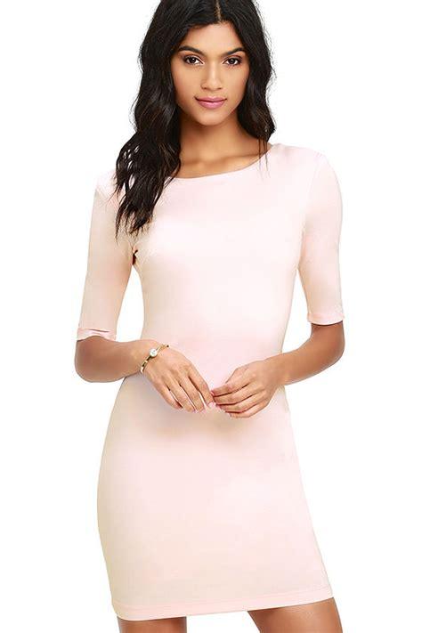 light pink bodycon dress bodycon dress light pink dress sleeve dress 42 00