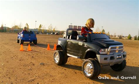 Power Wheels Tug Of War 1   Ford F 150 vs Dodge Ram   YouTube