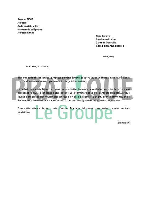 assurance gras savoye lettre de r 233 siliation gras savoye pratique fr
