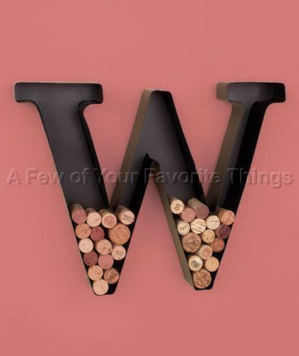 metal monogram quot w quot wine cork holder letter initial wall