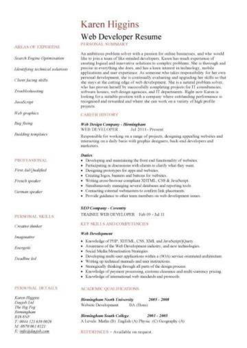 Web Developer Cv Sle by Web Developer Resume Exle Cv Designer Template