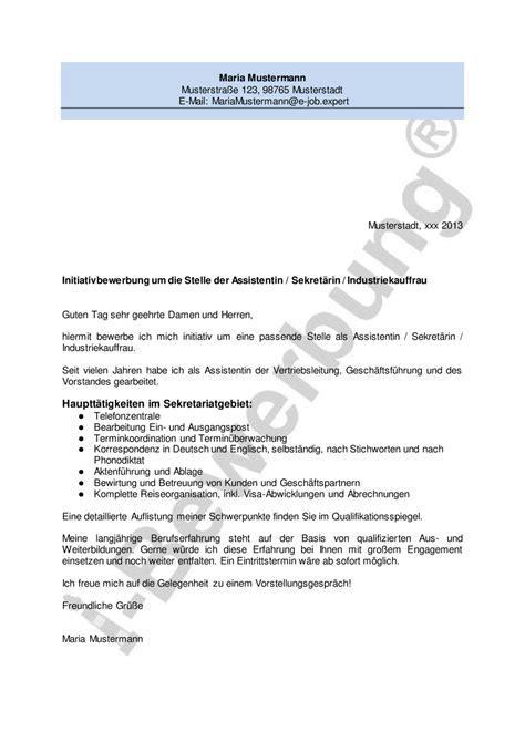 Initiativbewerbung Anschreiben by Initiativbewerbung Als Sekret 228 Rin Anschreiben Muster