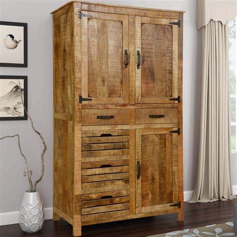 Wood Armoire by Avon Pioneer Rustic Solid Wood Armoire With Shelves And 5