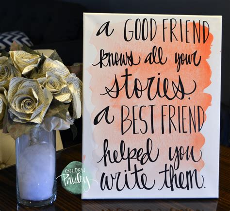 friend canvas canvas by watercolor quote bridesmaid gift a best friend Best