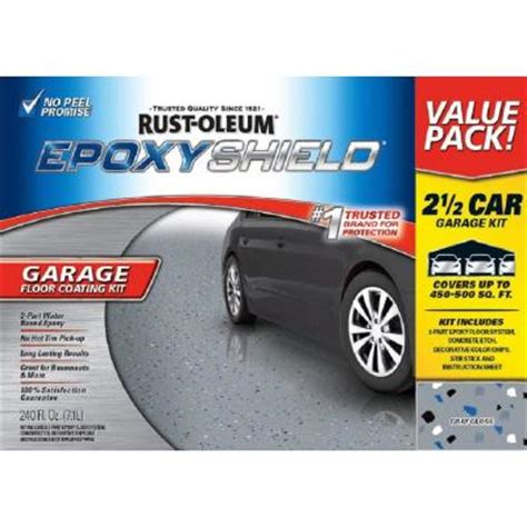 rustoleum garage floor kit home depot rust oleum epoxyshield 240 oz gray high gloss 2 5 car