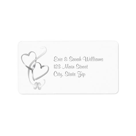 Silver Hearts Wedding Address Labels Zazzlecom