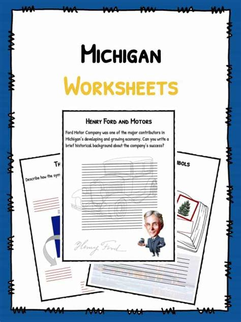 michigan facts worksheets historical state information