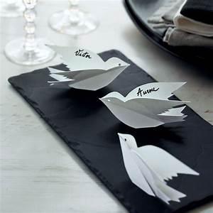 Marque Place Fait Maison : papier des oiseaux en guise de marque place marie claire ~ Preciouscoupons.com Idées de Décoration