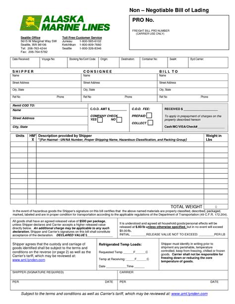 Bill Of Lading by Pin Negotiable Bill Of Lading On