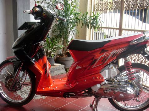 Modif Motor Mio Lama Merah by Koleksi Modifikasi Motor Mio Soul Airbrush Terbaru