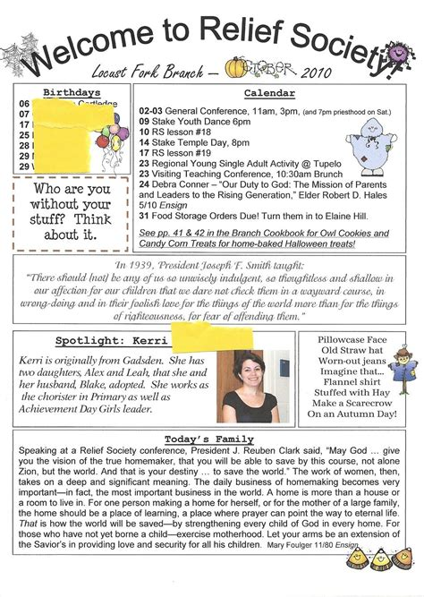 relief society newsletter template  relief society