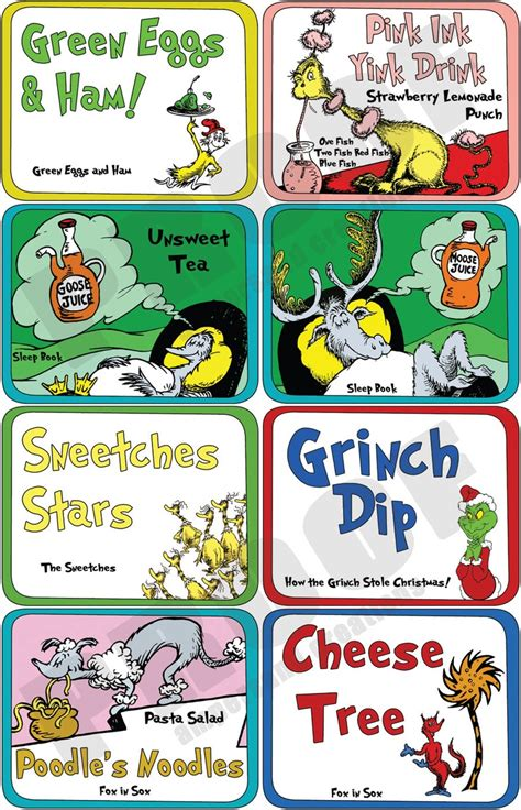dr cuisine dr seuss food labels pictures to pin on