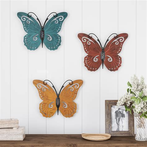 Benzara traditional style the unique set of 3 metal wall mirror home decor 76187. Butterfly Metal Wall Art 3 Piece Set- Hand Painted ...