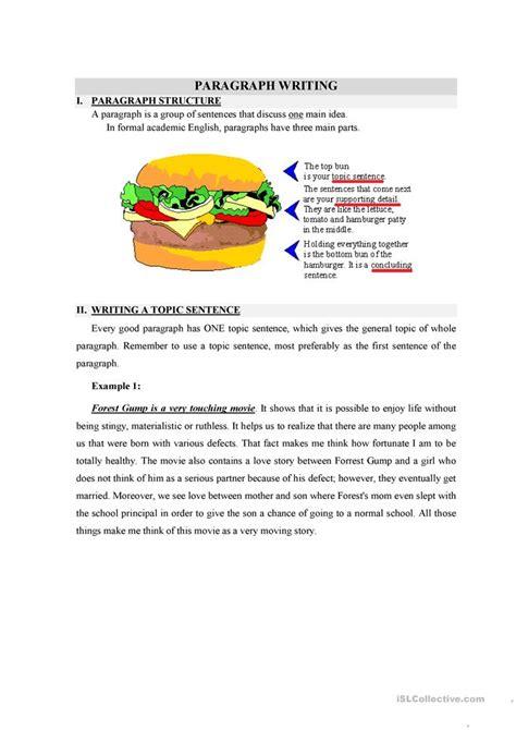 writing  topic sentence worksheet  esl printable