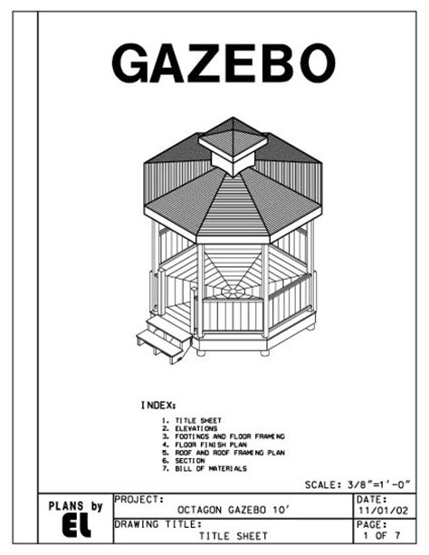 octagon  sided gazebo building plans blueprints