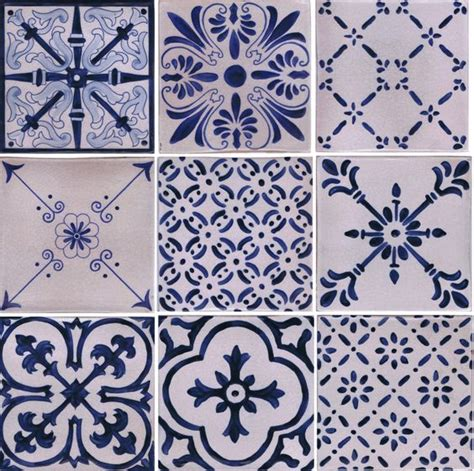 new line of blue and white tiles painted on italian