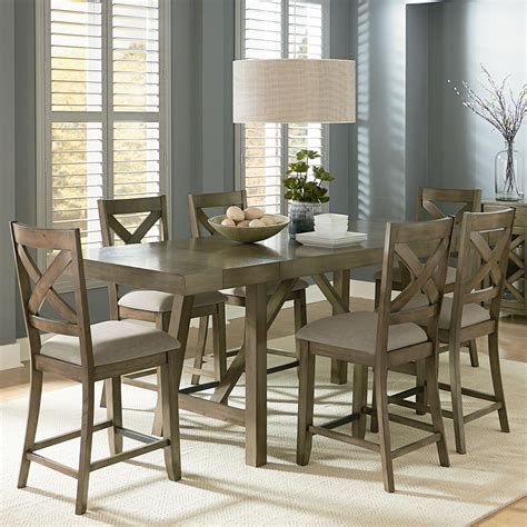 counter height dining room table sets standard furniture omaha grey counter height 7 piece