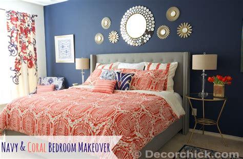 surprise  redid  master bedroom  navy  coral bedroom decorchick