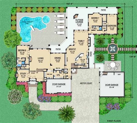 luxury style house plans  square foot home  story  bedroom   bath  garage
