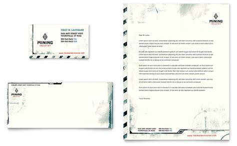 mining company business card letterhead template design