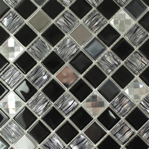 glass stainless steel mosaic tiles self adhesive black