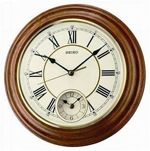 Wall clock seiko roman oak dual time wall clocks at priisma for Dual time wall clock