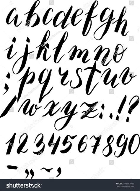 brush lettering alphabet painted brush alphabet numbers simbols stock vector 22082